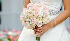 Pale pink rose and hydrangea bouquet