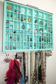 Handmade type drawer jewelry display, necklace display, accessories storage, Unique Earring Holder, Gift for her, jewelry box,. $89.00, via Etsy.