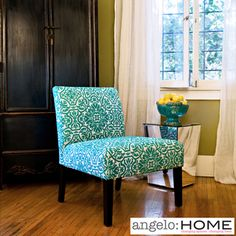 @Overstock - This beautiful jewel-tone angelo:HOME Bradstreet armless chair was designed by Angelo Surmelis. The Bradstreet chair is covered in a turquoise blue and white classic damask with dark espresso wood legs.http://www.overstock.com/Home-Garden/angelo-HOME-Bradstreet-Modern-Damask-Turquoise-Blue-Upholstered-Armless-Chair/5980621/product.html?CID=214117 $144.99