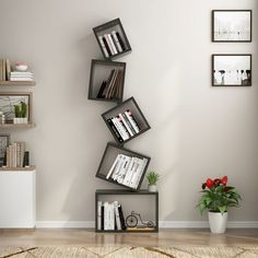 This Floating Cube Bookcase adds both stylish look and function to your living room, office, and bedroom. You can choose to assemble 3 shelves, 4 shelves or 5 shelves as desired. Flexible design easily meets your different demands. Bookshelf Design, Wall Shelves Design, Wood Shelves, Floating Shelves, Bookshelf Decorating, Decorating Ideas, Shelving Solutions, Rack Solutions, Unique Shelves
