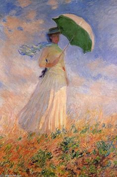 Woman with green umbrella artwork by Claude Monet. Details and painting available on http://en.wahooart.com/A55A04/w.nsf/OPRA/BRUE-8EWESG