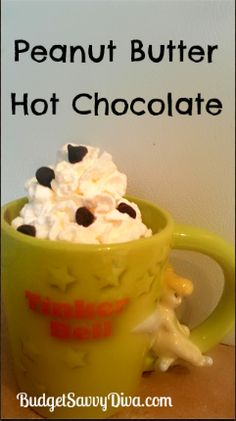 PB Hot Chocolate - Made this for Jer. He couldn't taste the PB until the end...I guess I didn't mix it enough? Refreshing Drinks, Fun Drinks, Yummy Drinks, Beverages, Alcoholic Drinks, Yummy Treats, Delicious Desserts, Yummy Food, Just Desserts