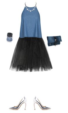 """denim & diamonds attire halter & tulle skirt"" by michalbbb ❤ liked on Polyvore featuring Ballet Beautiful, Humble Chic, Nicholas Kirkwood, Sif Jakobs Jewellery, Dsquared2 and ABS by Allen Schwartz"