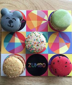 From top left clockwise we have Caramello Koala, Thai Green Curry, Watermelon & Strawberry, Peanut Butter & Toasted Coconut and Fairy Bread (middle). Thanks for the pic 😍 Zumbo's Just Desserts, Fancy Desserts, Delicious Desserts, Adriano Zumbo, Fairy Bread, Green Curry, Toasted Coconut, Food Design, Cake Cookies