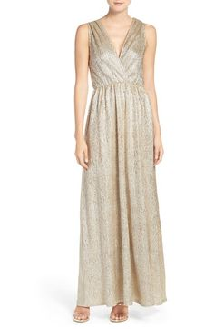Lulus Surplice V-Neck Sleeveless Shimmer Gown available at #Nordstrom