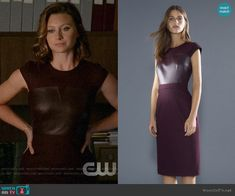 Peyton's burgundy leather panel dress on iZombie Denim Shirt Style, Panel Dress, Other Outfits, Mens Fashion, Fashion Outfits, Green Jacket, Costume Design, Cashmere Sweaters, Dress Skirt