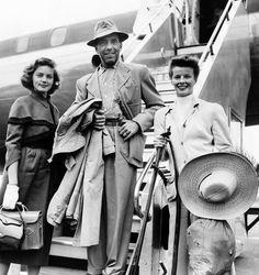 Bucket Hat Badass.Humphrey Bogart, with Lauren Bacall and Katharine Hepburn, 1951.