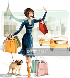 Illustration of a young woman shopping in New York with a dog Woman dog and background are grouped and layered separately