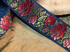 "1.5"" - Exquisite French Floral Motif  Woven Embroidered Jacquard Ribbon - Blue with Pink/Red Ombre Roses"