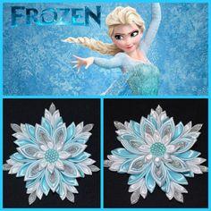 """ELSA """"Congelada"""" hecho a mano inspirado Clip/arco de pelo de la muchacha, estilo Kanzashi, Navidad"""