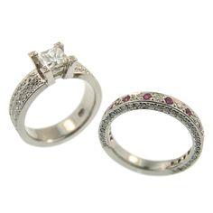 Handmade at Cameron Jewellery. Handmade Wedding Jewellery, Wedding Jewelry, Wedding Rings, Wedding Engagement, Engagement Rings, Wedding Ring Designs, Princess Cut Diamonds, Pink Sapphire, Diamond Rings