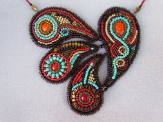 Paisley - Eastern necklace. Bead embroidery.. $240.00, via Etsy.