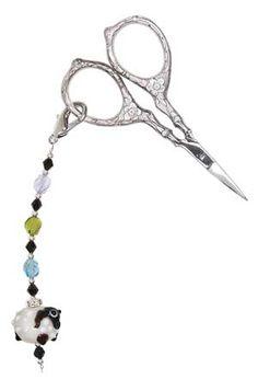"""Queen Ewe Scissor Fob, 5"""" long including clasp (shown with Tudor Rose Scissors)"""