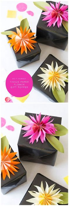 DIY paper tissue flower gift topper perfect for the holidays, birthdays or anytime! via The House That Lars Built - The BEST DIY Gift Toppers - Pretty and EASY Inexpensive Handmade Ideas for Christmas, Birthdays, Holidays and any special occasion!