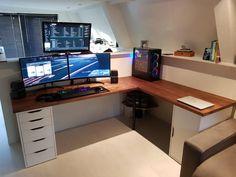 Find best Home Decoration Ideas for Your House - DIY - Room - Makeover Home Office Setup, Home Office Space, Home Office Design, House Design, Office Ideas, Gaming Room Setup, Desk Setup, Diy Computer Desk, Gaming Computer