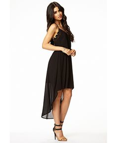 Crochet Lace-Trimmed High-Low Dress | FOREVER21 - 2055372689