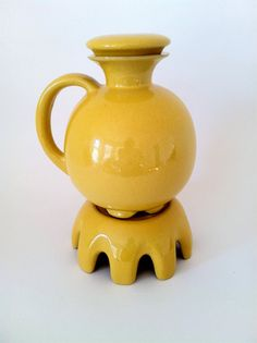 Yellow Frankoma Pottery Carafe w/Lid and Warmer