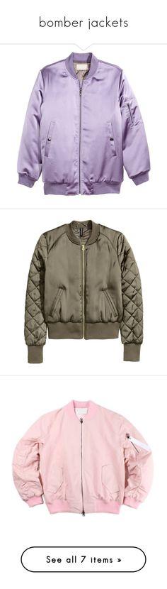"""""""bomber jackets"""" by xxsaraxtaraxx ❤ liked on Polyvore featuring outerwear, jackets, tops, coats & jackets, purple, zip jacket, padded bomber jacket, h&m jackets, zipper jacket and lined bomber jacket"""
