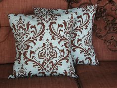 """Pillow Covers Accent Pillows DAMASK 20x20 inches set of TWO Decorative Pillow Covers 20"""" Blue and Brown. $33.00, via Etsy."""