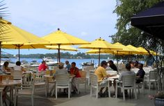 Lakefront dining at North Harbor Club in Davidson