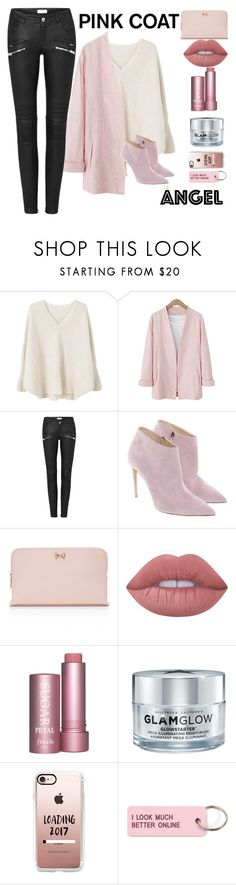 """""""Pink Coat"""" by nendeayesika ❤ liked on Polyvore featuring MANGO, Ralph Lauren, Ted Baker, Lime Crime, GlamGlow, Casetify and Various Projects"""
