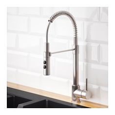 IKEA - VIMMERN, Kitchen mixer tap/handspray, , 10 year guarantee. Read about the terms in the guarantee brochure.You save water and energy, because the mixer tap has a mechanism that reduces water flow while maintaining pressure.The mixer tap insert has hard, durable ceramic discs that can handle the high friction that occurs when you change the temperature of the water.The tap functions two ways, so you can switch between a concentrated stream and hand shower just by pushing the buttons on…