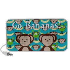 Monkeys in Space Go Bananas Traveling Speakers by Lee Hiller #Space #Monkeys #Aliens #Fun