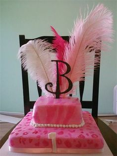 All Pink cheetah and zebra animal print cake with feathers  - 1st birthday