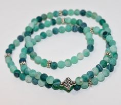 Agate Mala Necklace with Chinese Knot charm by MyOhmStyle on Etsy