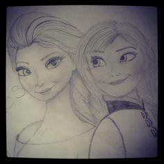Quick pencil sketch. Elsa and Anna #Frozen