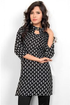 Candid Black, White Cotton Printed Kurti