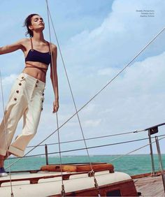 """Dreaming of Dior: """"Beyond the Sea"""" Luma Grothe for Harper's Bazaar Mexico June 2015 Boat Fashion, Nautical Fashion, Luma Grothe, Sailing Holidays, Boat Insurance, Beyond The Sea, Power Boats, Catamaran, Poses"""