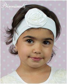 (EM-33) Schlichtes Stirnband für die kleine Dame in creme - Princessmoda - Alles für Taufe Kommunion und festliche Anlässe