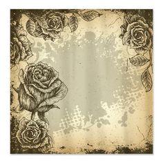 Vintage Grunge Roses Shower Curtain