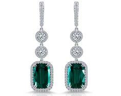 Green Tourmaline Cushion Drop Earrings - Rahaminov Diamonds