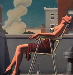 """pictorialautobiography:  A city """"lunch break sunbather"""", in the perfect world. #detail #oilpainting #kentonnelson"""