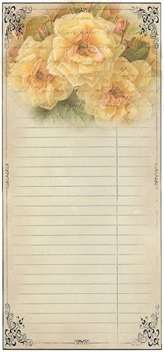 Hd Vintage Roses Notepaper