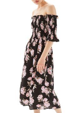 New Topshop Bardot Rose Midi Dress, Cyber Jungle fashion dress online. [$80]>>newtopfashion Shop fashion 2017 <<