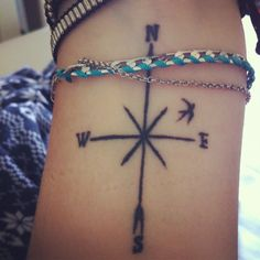 Compass & bird | wrist tattoo