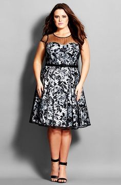 City Chic 'Polka Dot Rose' Illusion Yoke Fit & Flare Dress (Plus Size)