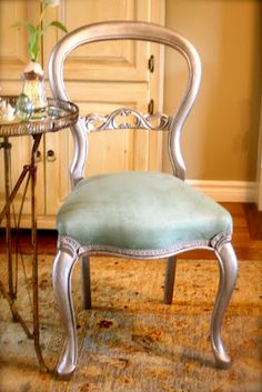 Fabric painted with Annie Sloan Chalk Paint in Duck Egg Blue