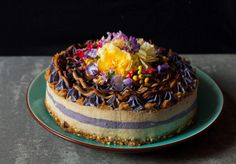 Salted caramel and blueberry vegan cheesecake [2048x1431]