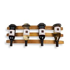 CURVED BARREL HORIZONTAL WALL MOUNT WINERACK FOR FOUR BOTTLES