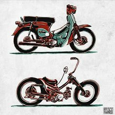 how it's done Buddha Tattoos, Honda Cub, Brochures, Bobber, Cubs, Gabriel, Storytelling, Signage, Bicycle