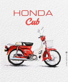 Bike Illustration, Watercolor Illustration, Moped Motorcycle, Honda Scooters, Bike Sketch, Sketches Of Love, Honda Cub, Art Diary, Indian Artist