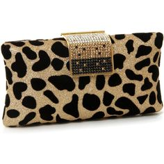 Purse Boutique: Gold ''Shimmering Leopard'' Clutch Purse, Purses found on Polyvore