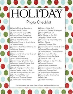 holiday photo check list { free printable }