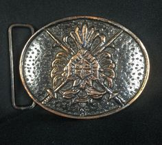 "Coat Of Arms Brass Oval Belt Buckle Copper Finish Swords Shield 3"" X 2 3/8""  