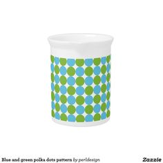 Blue and green polka dots pattern pitcher