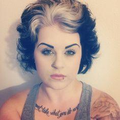 beautiful silver streaked hair